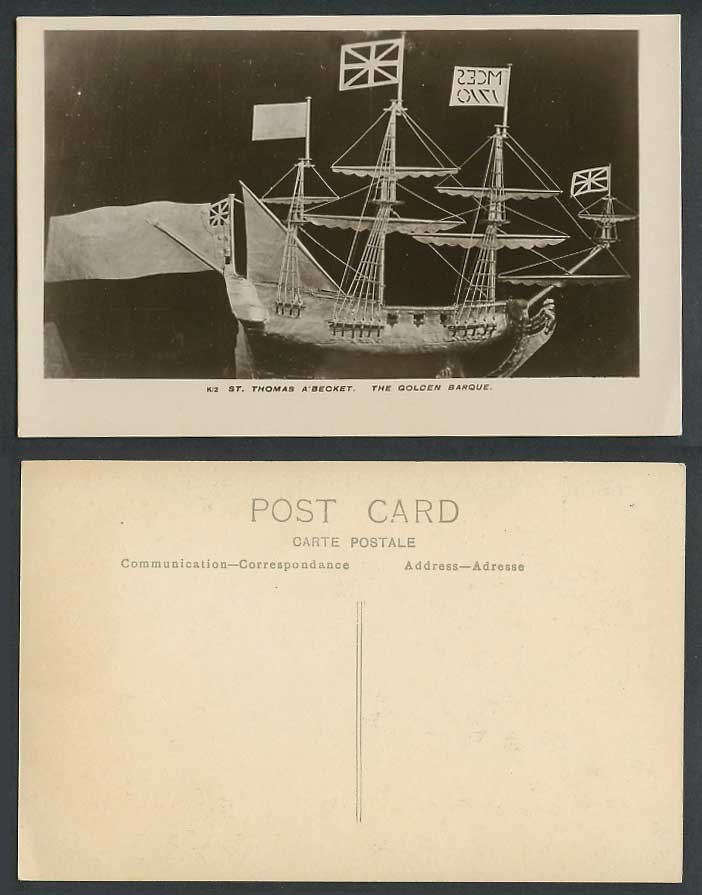 St. Thomas A'Becket The Golden Barque Boat Ship Schooner Old Real Photo Postcard