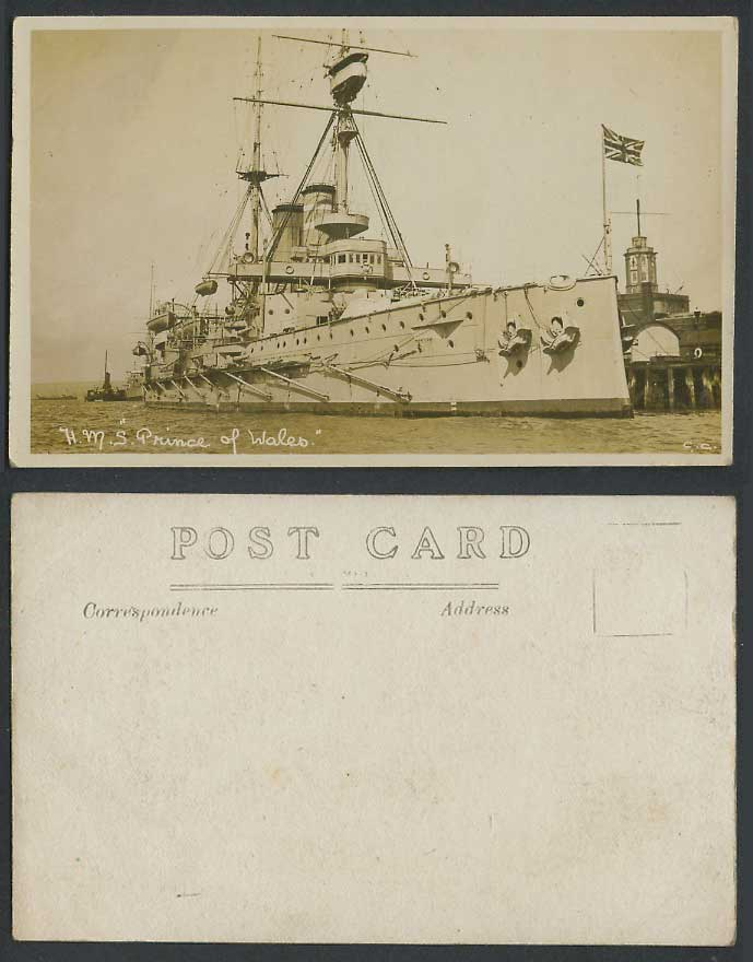 H.M.S. Prince of Wales. Flag, Military Vessel Battleship Old Real Photo Postcard