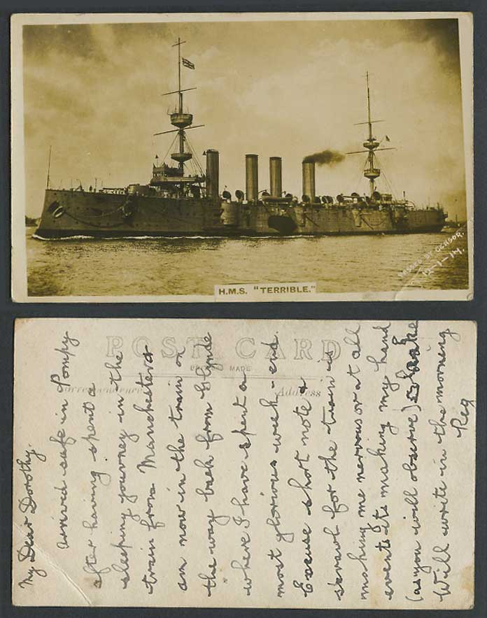 H.M.S. Terrible, Warship Battleship Military Vessel 1917 Old Real Photo Postcard