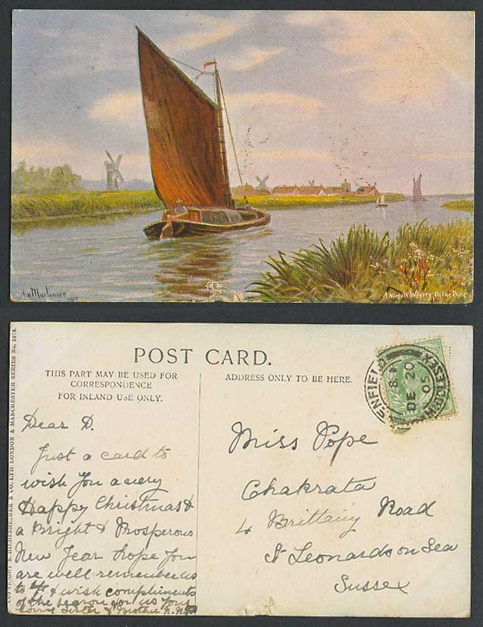 Mortimer Artist Signed 1905 Old Postcard Sailing Boats River Scene Windmill Mill
