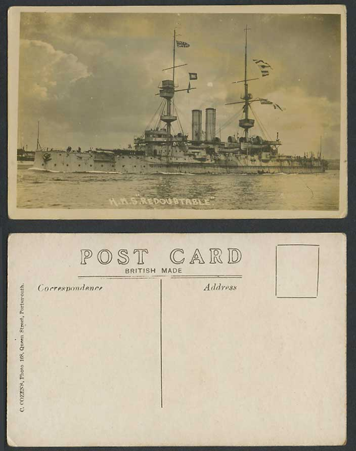 H.M.S. Redoubtable Battleship Warship Military Vessel Flags Old R Photo Postcard