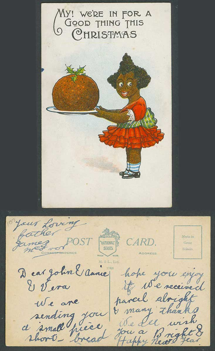 Black Girl Xmas Pudding My We're in for a good thing this Christmas Old Postcard
