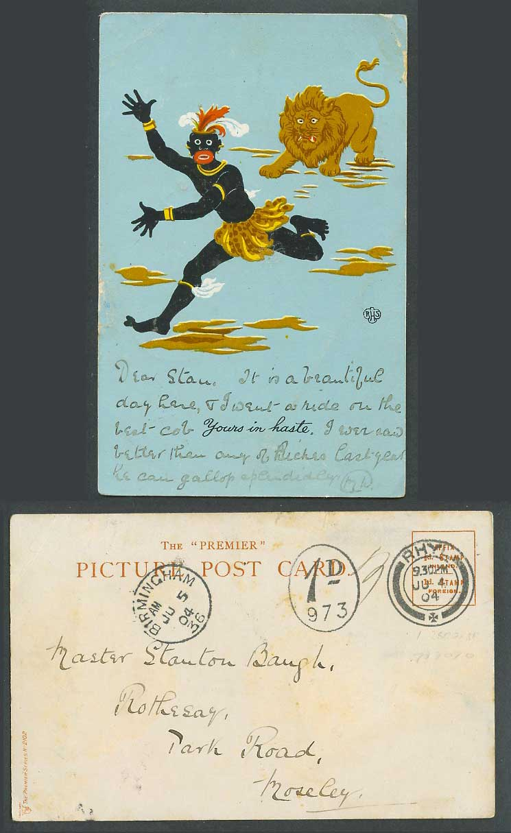 RHS Postage Due 1d 973 1904 Old UB Postcard Black Chief Man Lion, Yours in haste