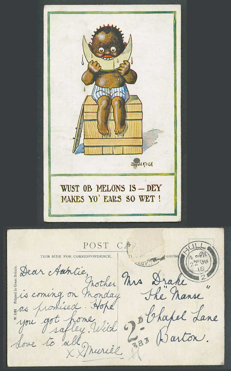 Donald McGill Postage Due 2d 383 1918 Old Postcard Black Boy eating Melon Ethnic