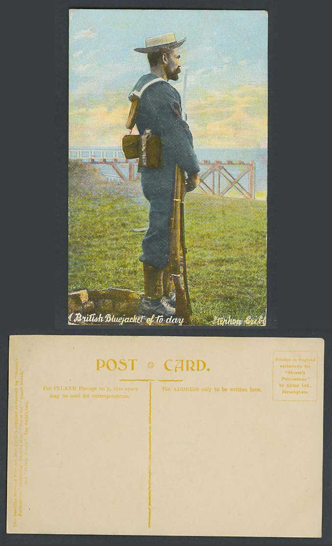 British Bluejacket Blue Jacket of Today, Soldier Seaman Sailor, Gun Old Postcard