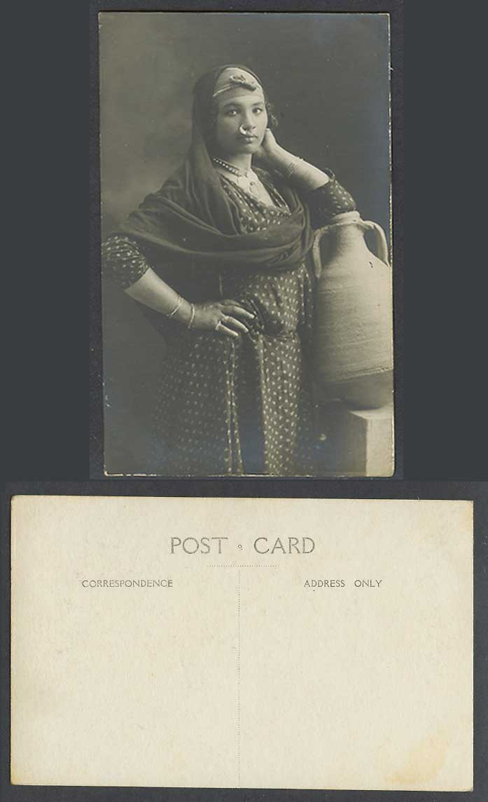 Egypt Old Real Photo Postcard Native Egyptian Woman Lady with Pitcher, Nose Ring