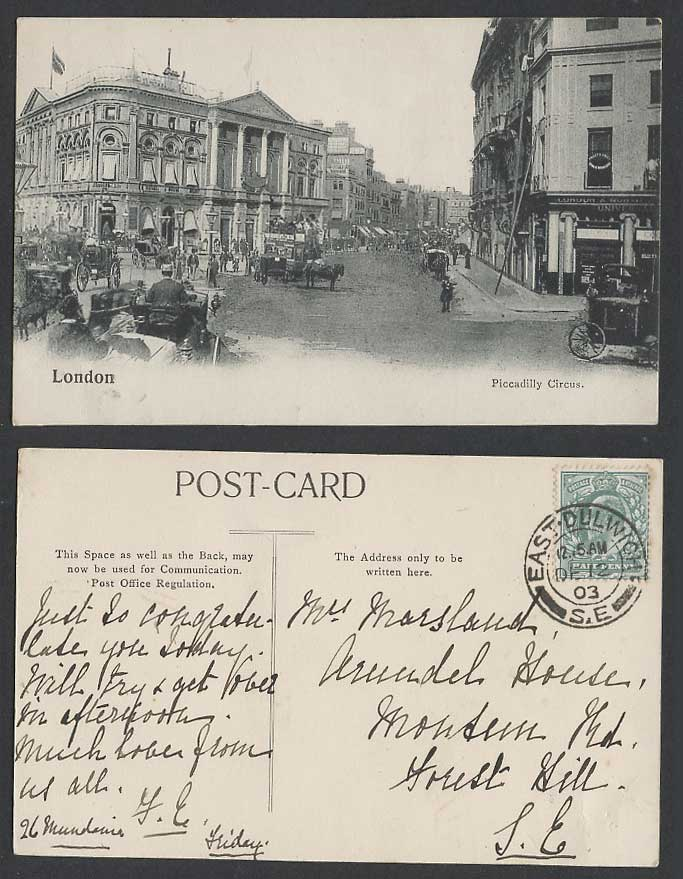London 1903 Old Postcard Piccadilly Circus Street Scene, Horse Carts, Restaurant