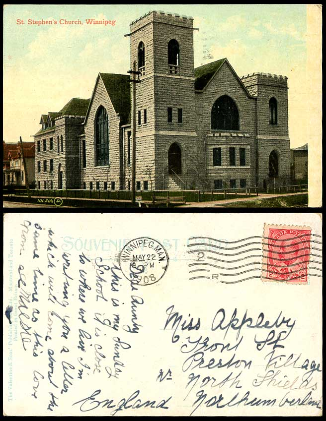 Canada 1908 Old Colour Postcard St. Stephen's Church Winnipeg Manitoba, Canadian