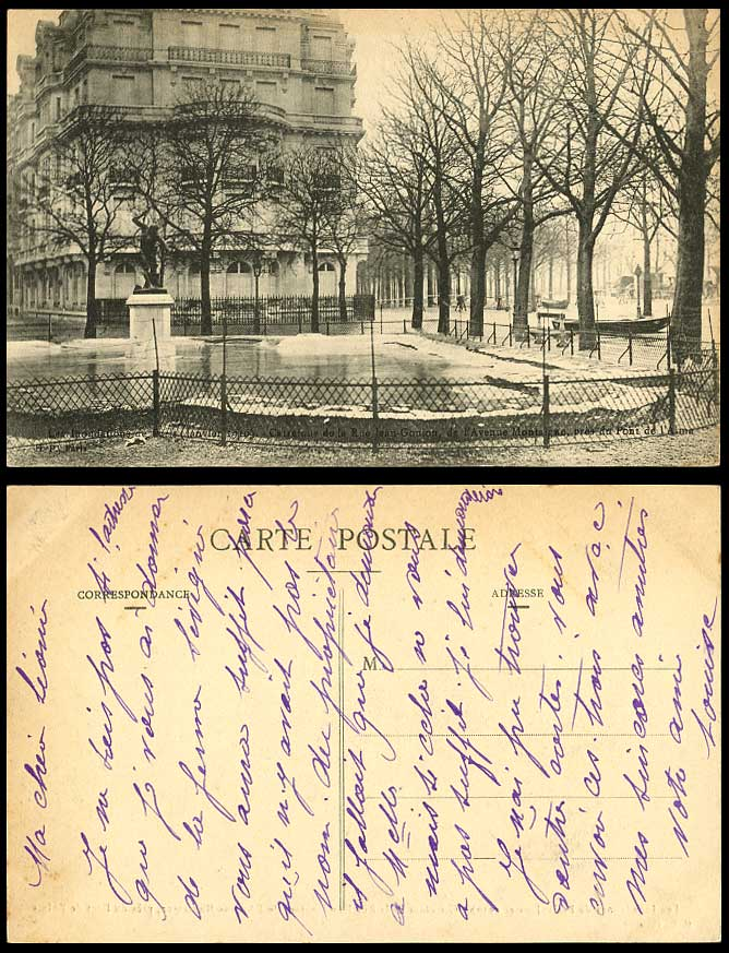 PARIS FLOOD 1910 Old Postcard Rue Jean-Goujon Avenue Montaigne Statue Boats Snow