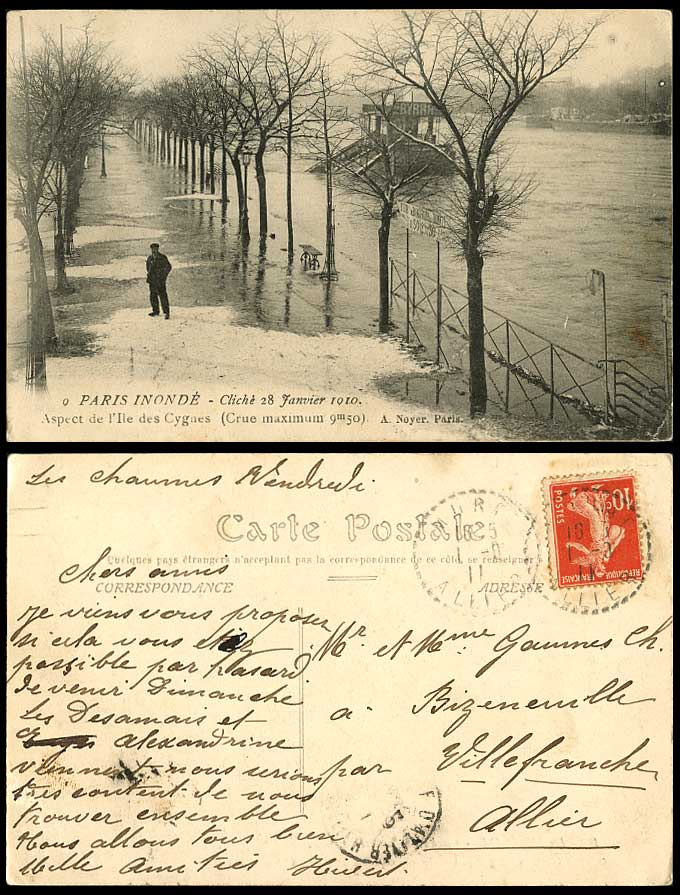 PARIS FLOOD 28 Jan. 1910 Old Postcard Aspect de Ile des CYGNES Crue Maximum 9m50