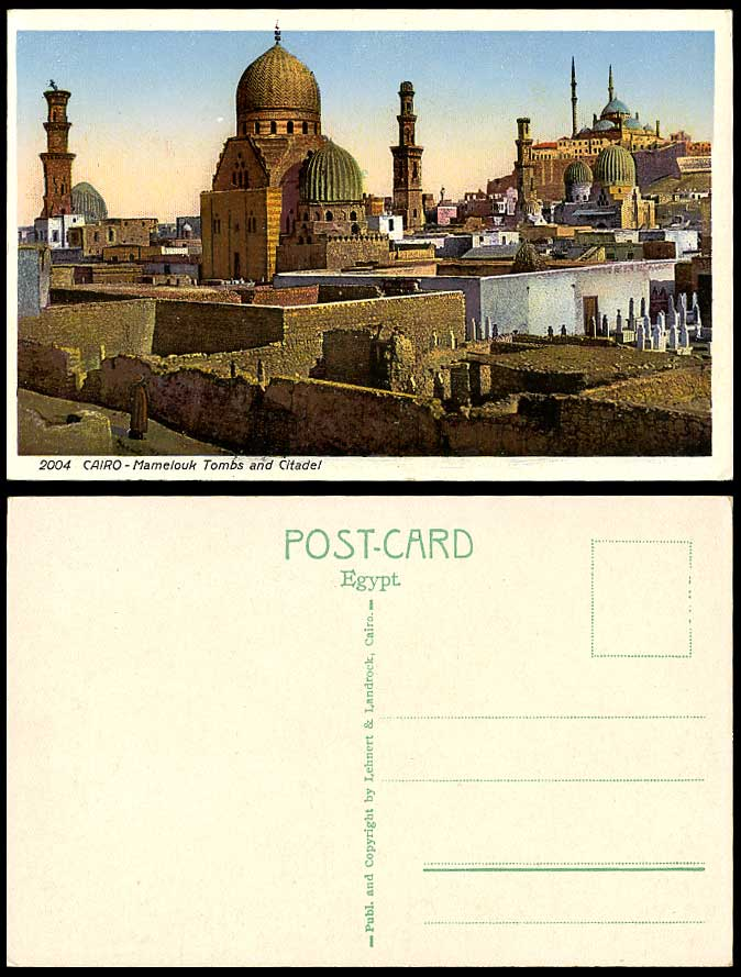 Egypt Old Colour Postcard Cairo Mamelouk Tombs and Citadel Tombeaux et Citadelle