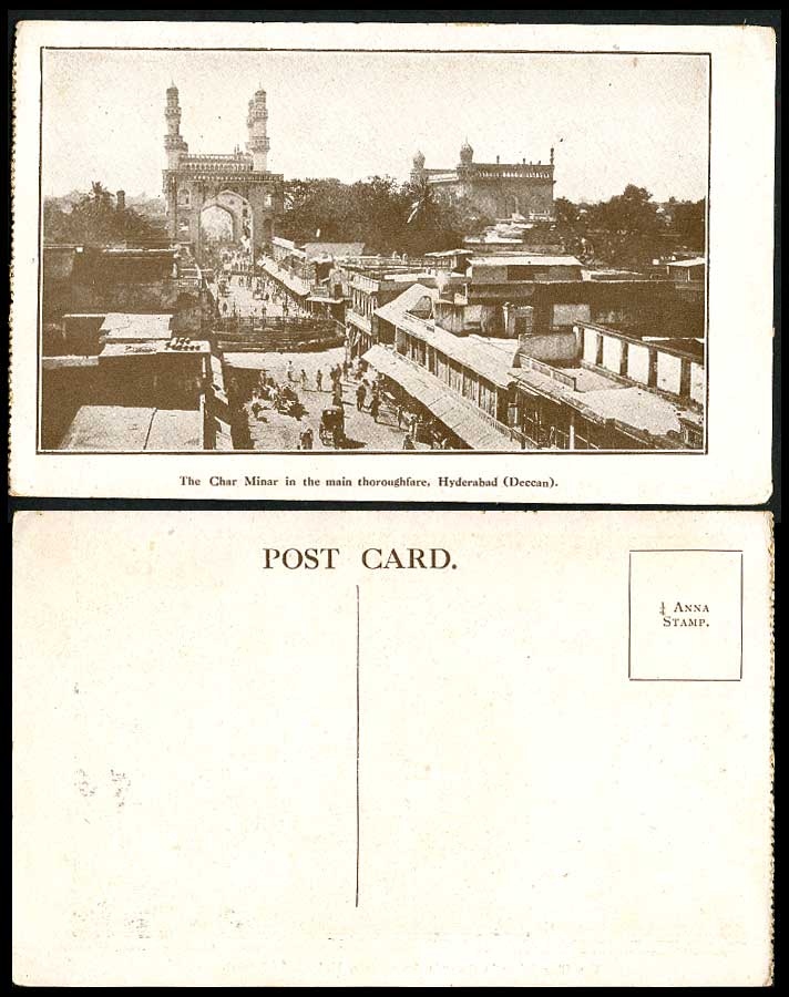India Old Postcard Char Minar in Main Thoroughfare Hyderabad Deccan Street Scene