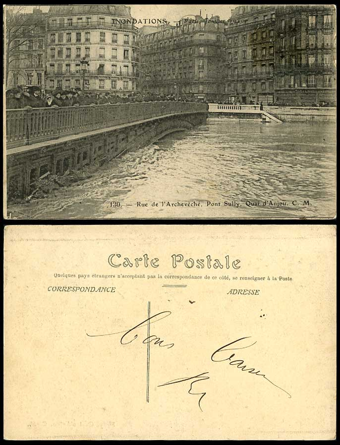 PARIS FLOOD 1910 Old Postcard Rue de l'Archeveche Pont Sully Bridge Quai d'Anjou