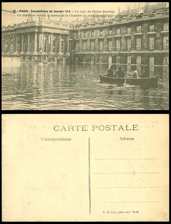 PARIS FLOOD 1910 Old Postcard Palais Bourbon Courtyard Deputy to Meeting by Boat