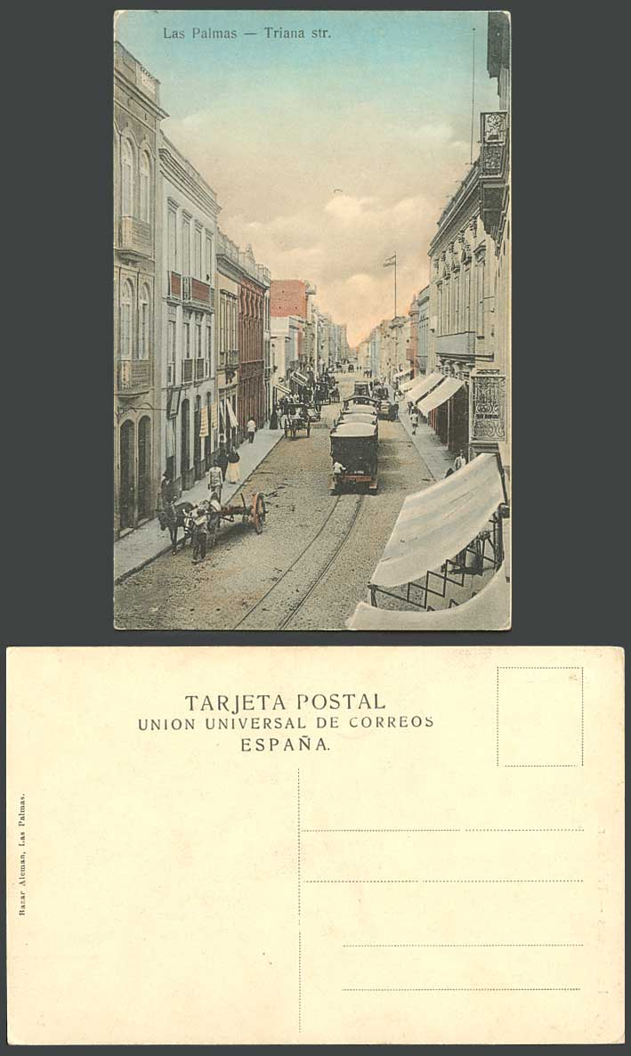 Spain Old Hand Tinted Postcard Las Palmas Triana Street Scene TRAM Tramway Carts