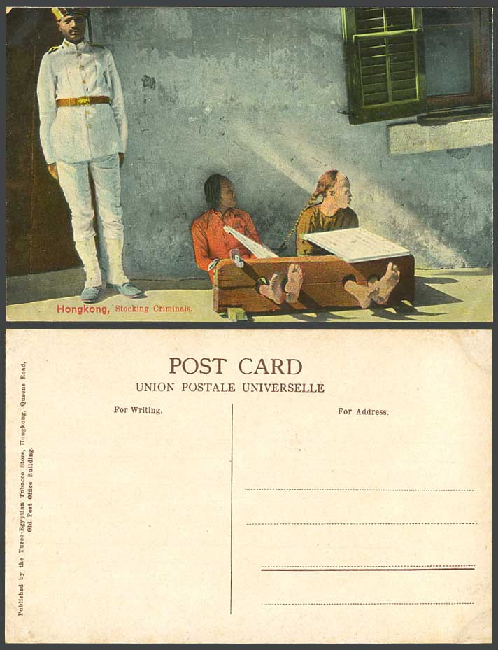 Hong Kong China Old Colour Postcard Prisoners Indian Police 2 Stocking Criminals