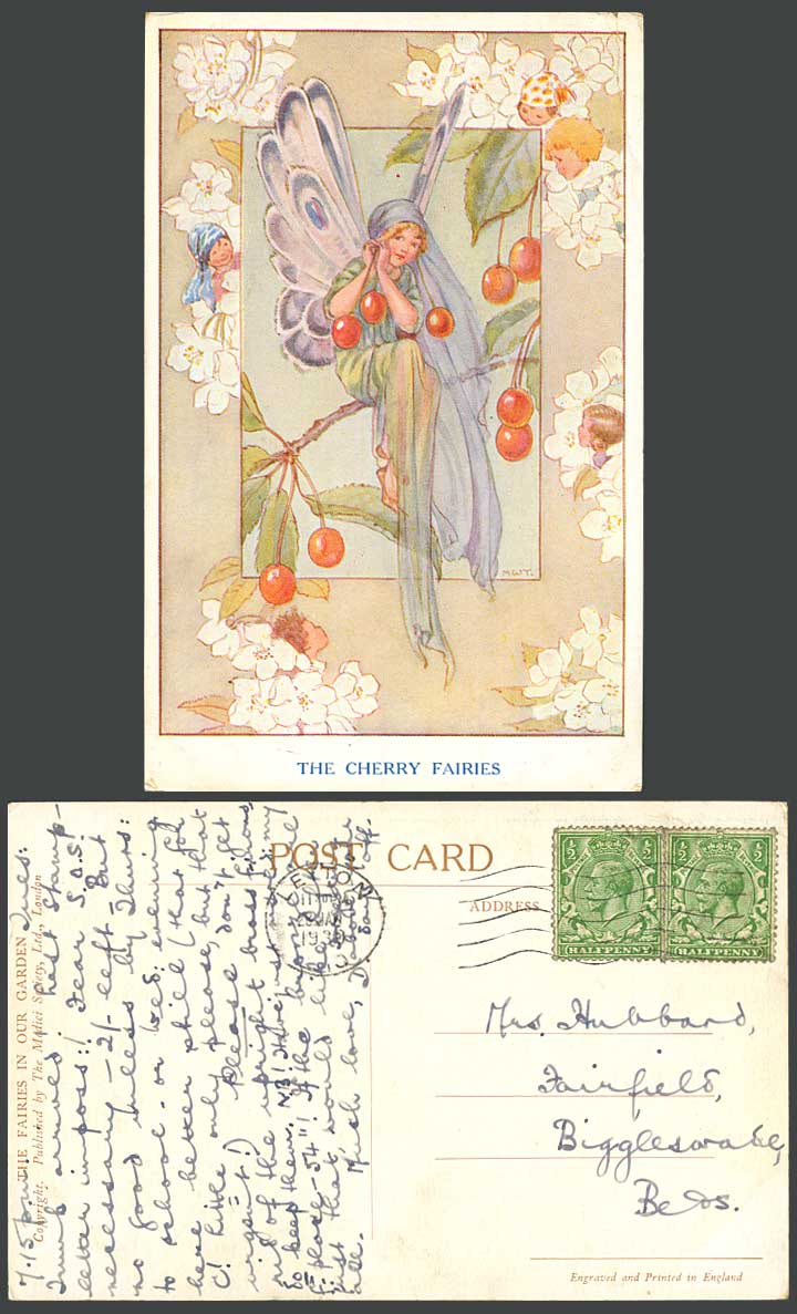 Margaret W Tarrant 1930 Old Postcard The Cherry Fairies In Our Garden Fairy Girl
