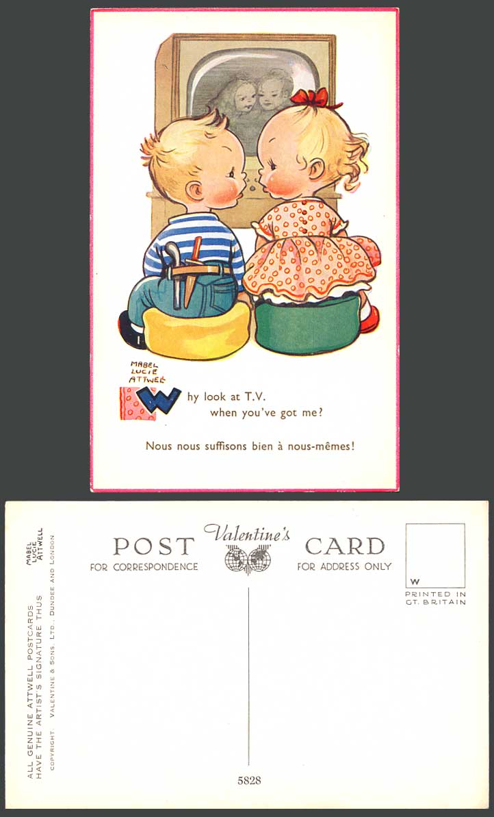 MABEL LUCIE ATTWELL Old Postcard Why Look at TV You've Got Me FrenchCaption 5828