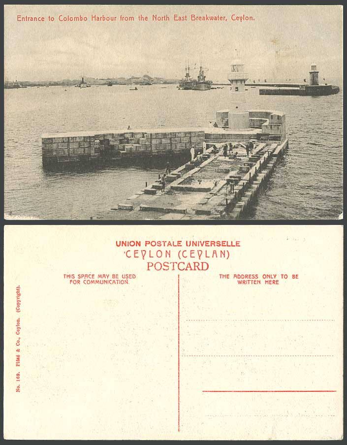 Ceylon Old Postcard Lighthouse Entrance to Colombo Harbour North Bast Breakwater