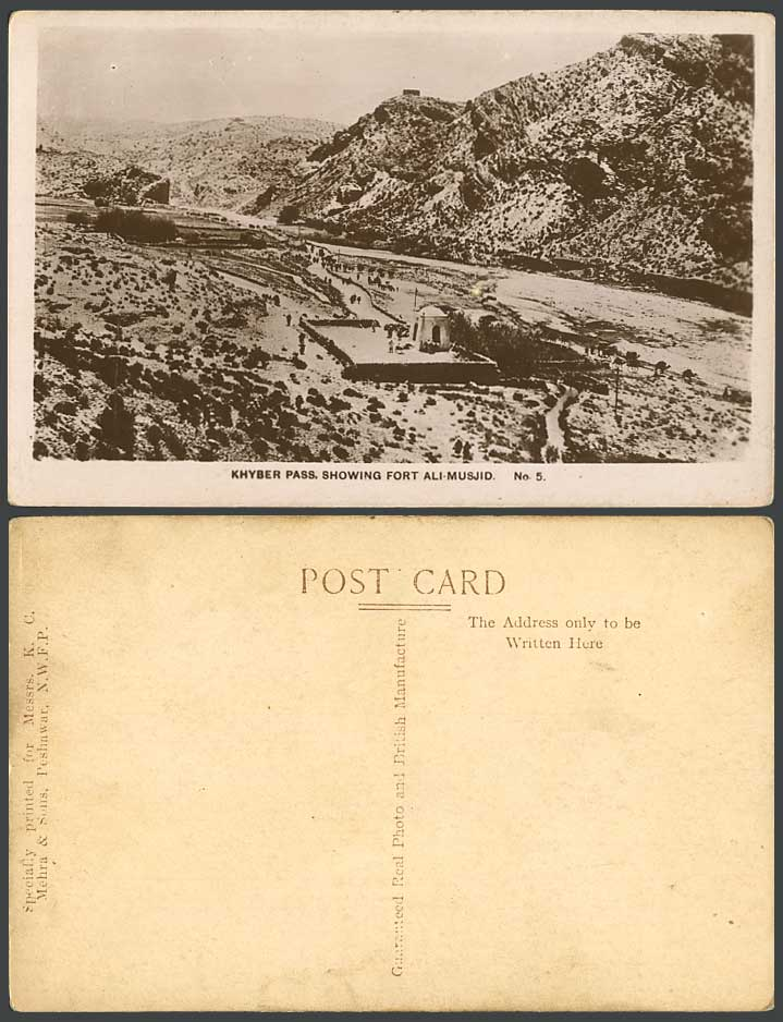Pakistan Old Real Photo Postcard Khyber Pass Show Fort Ali Musjid Fortress India
