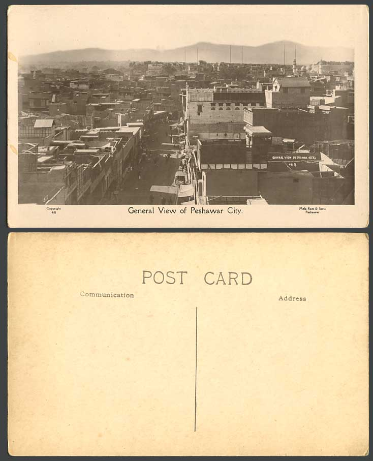 Pakistan Old Real Photo Postcard General View of Peshawar City Street Scene N.46