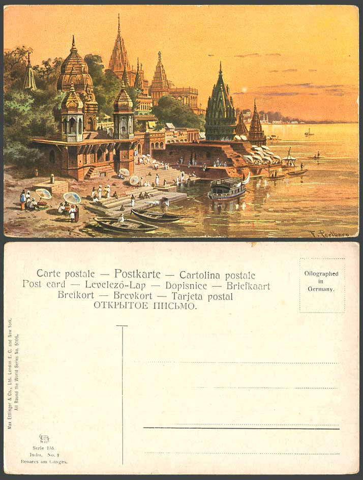 India F. Perlberg Artist Signed Old Postcard Benares am Ganges River Scene Boats