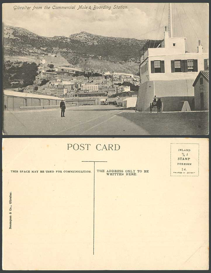 Gibraltar from The Commercial Mole & Boarding Station, Street Scene Old Postcard