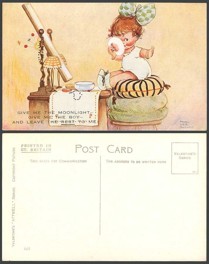 MABEL LUCIE ATTWELL Old Postcard Give Me Moonlight Boy, Leave The Rest To Me 665