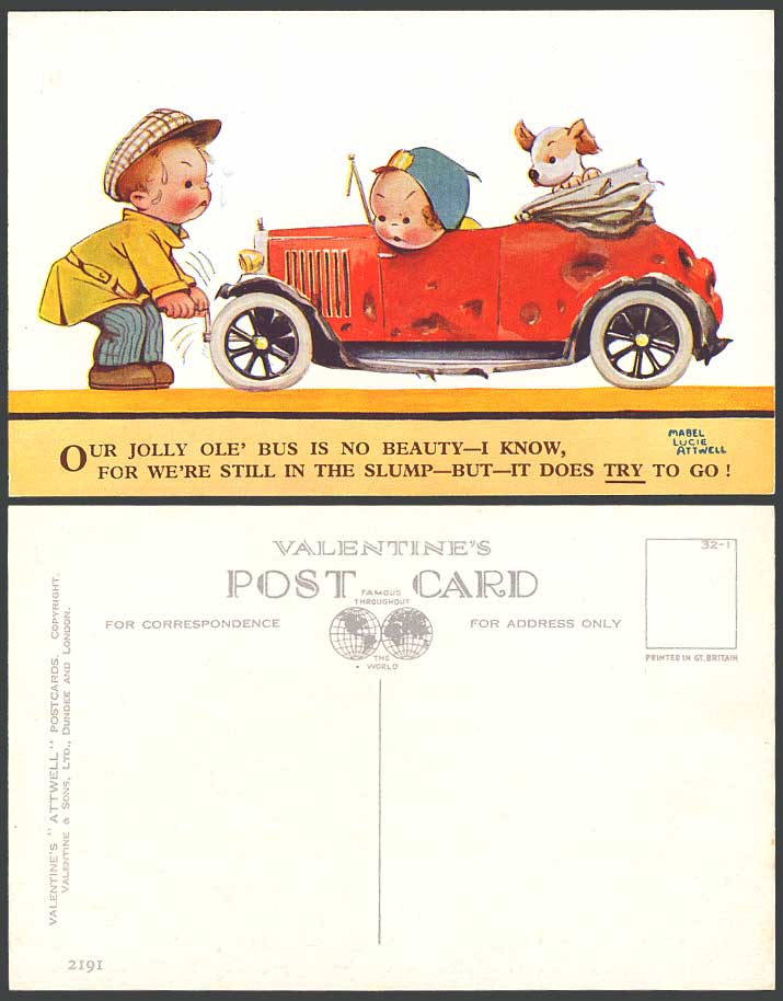 MABEL LUCIE ATTWELL Old Postcard Motor Car, Our Jolly Ole' Bus is no Beauty 2191