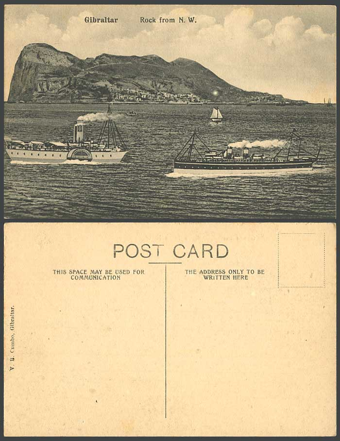 Gibraltar Old Postcard Rock from N.W. (North West) a Paddle Steamer, Ships Boats