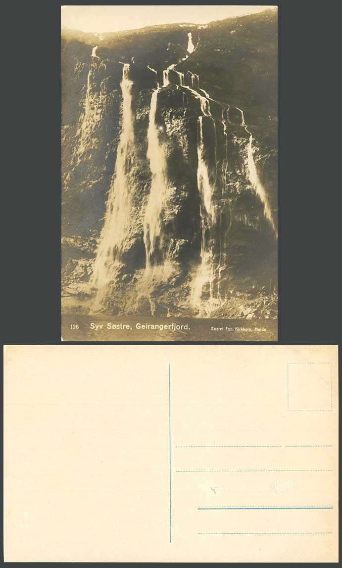 Norway Old Real Photo Postcard Syv Sostre Geirangerfjord, Waterfalls Water Falls