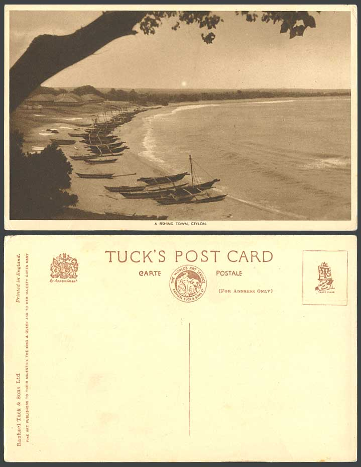 Ceylon Old Tuck's Postcard A Fishing Town, Native Boats Canoes on Beach, Fishery