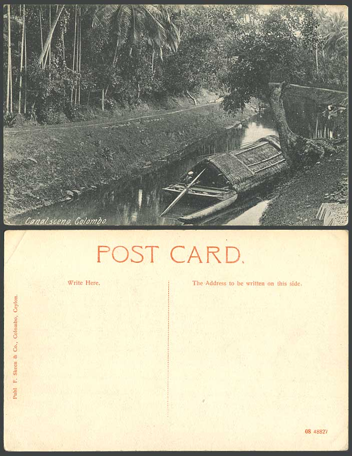 Ceylon Old Postcard Canal Scene Colombo Native Sampan Boat Houseboat F. Skeen Co