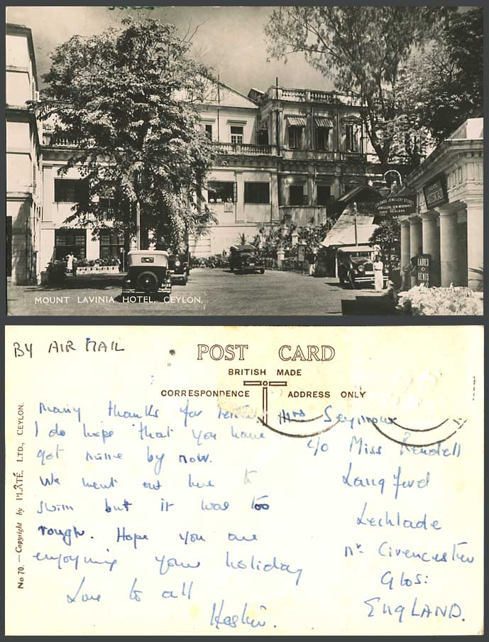 Ceylon 1948 Old Real Photo Postcard Mount Lavinia Hotel Colombo Jewellery Stores