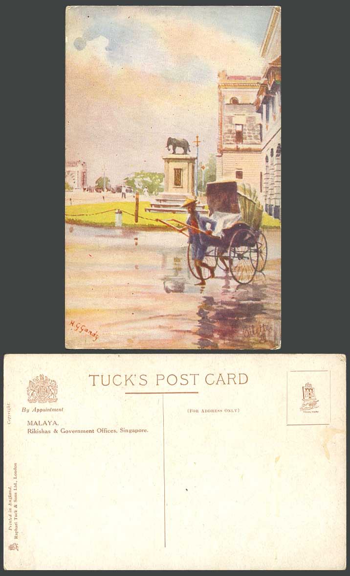 Malaya Rikishas Government Offices Singapore Elephant, HG Gandy ART Old Postcard