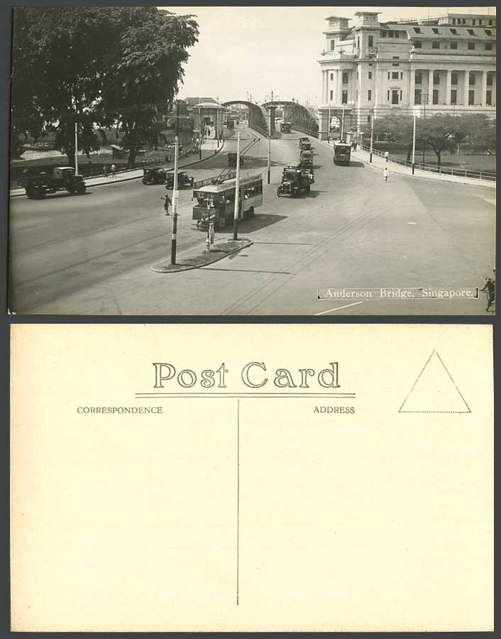 Singapore Old Real Photo Postcard Anderson Bridge Street Tram Tramway Cars Truck