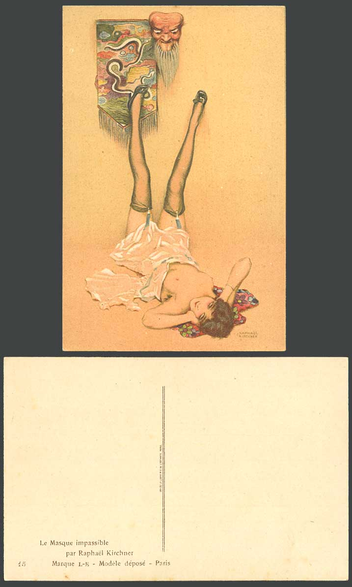 Raphael Kirchner Old Postcard Le Masque Impassible Impassive Mask, Glamour Woman