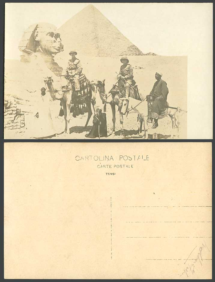 Egypt Old Real Photo Postcard Sphinx Pyramid WW1 Soldiers 8 Camels Guides Donkey
