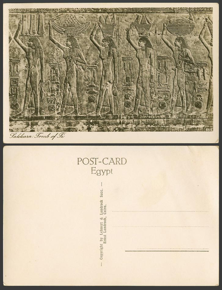 Egypt Old Postcard Sakkara, Tomb of Ti, Carvings Women Carrying Food and Drinks