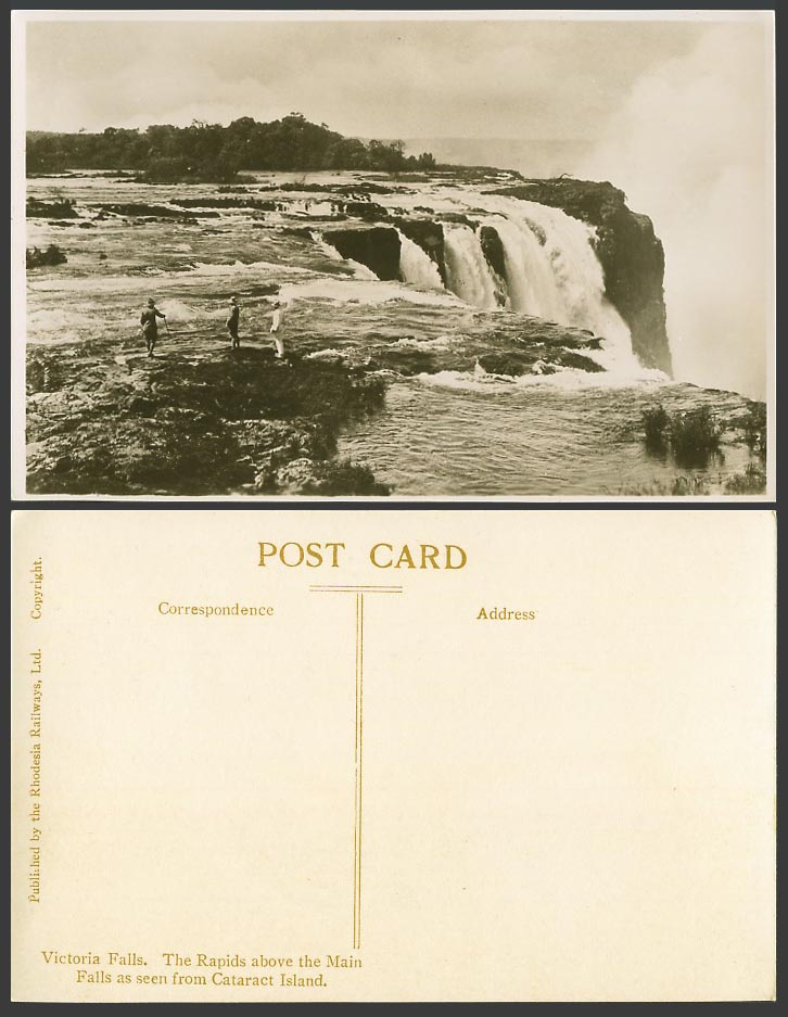 Rhodesia Old Postcard The Rapids above Main Victoria Falls, from Cataract Island