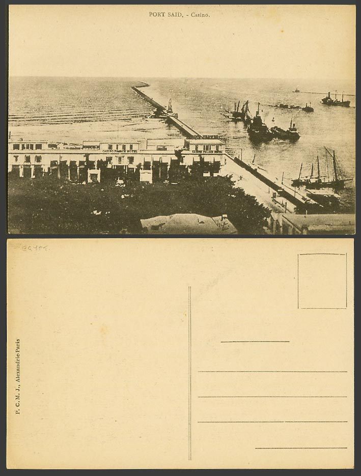 Egypt Old Postcard Port Said Casino Palace Hotel Breakwater Statue Ships & Boats