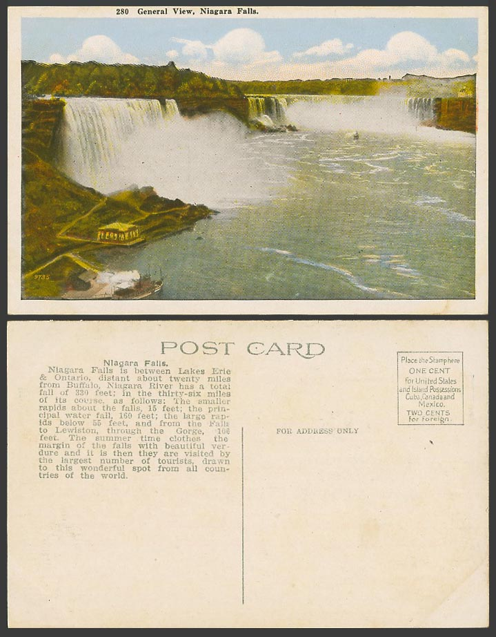 Canada Old Colour Postcard General View Niagara Falls, Ontario, General View 280
