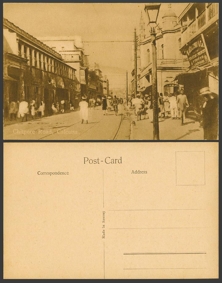 India Old Postcard Calcutta Chitpore Road Street Scene Tramlines Shop Advertise.
