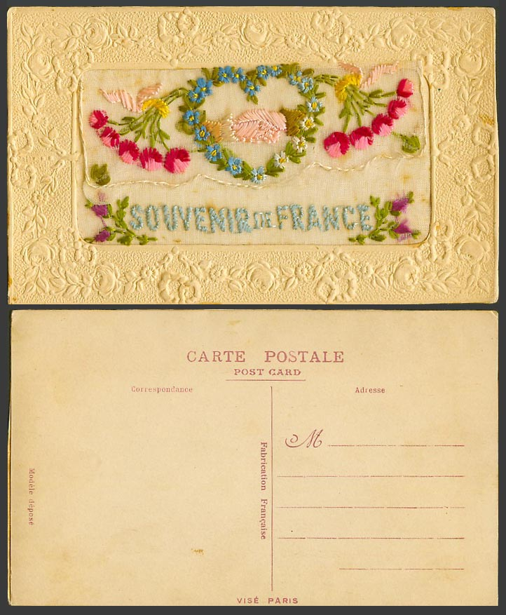 WW1 SILK Embroidered Old Postcard Souvenir de France, Holding Hands Empty Wallet