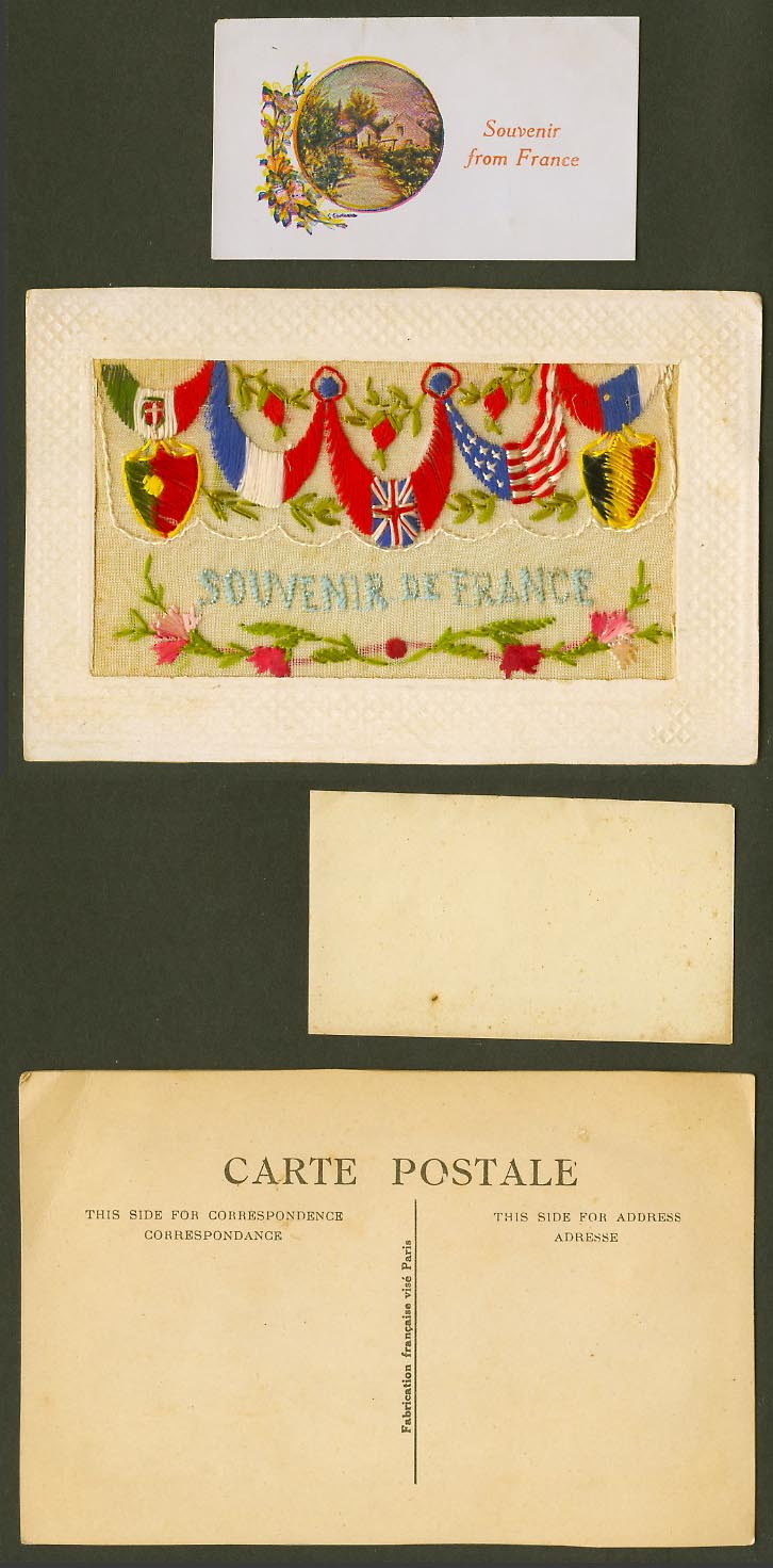 WW1 SILK Embroidered Old Postcard Souvenir from France Flags Flower Empty Wallet