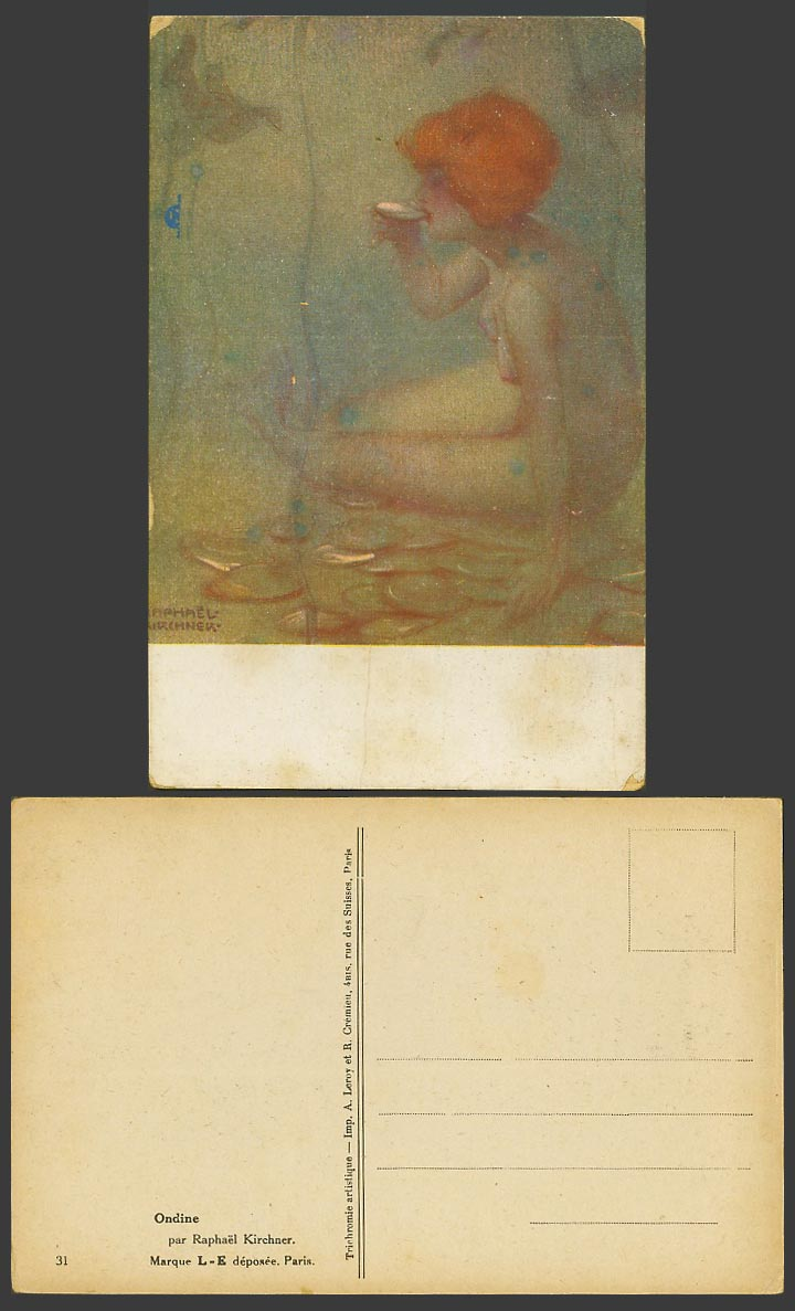 Raphael Kirchner Old Postcard Ondine Undine, Nude Naked Woman Lady Girl Drinking