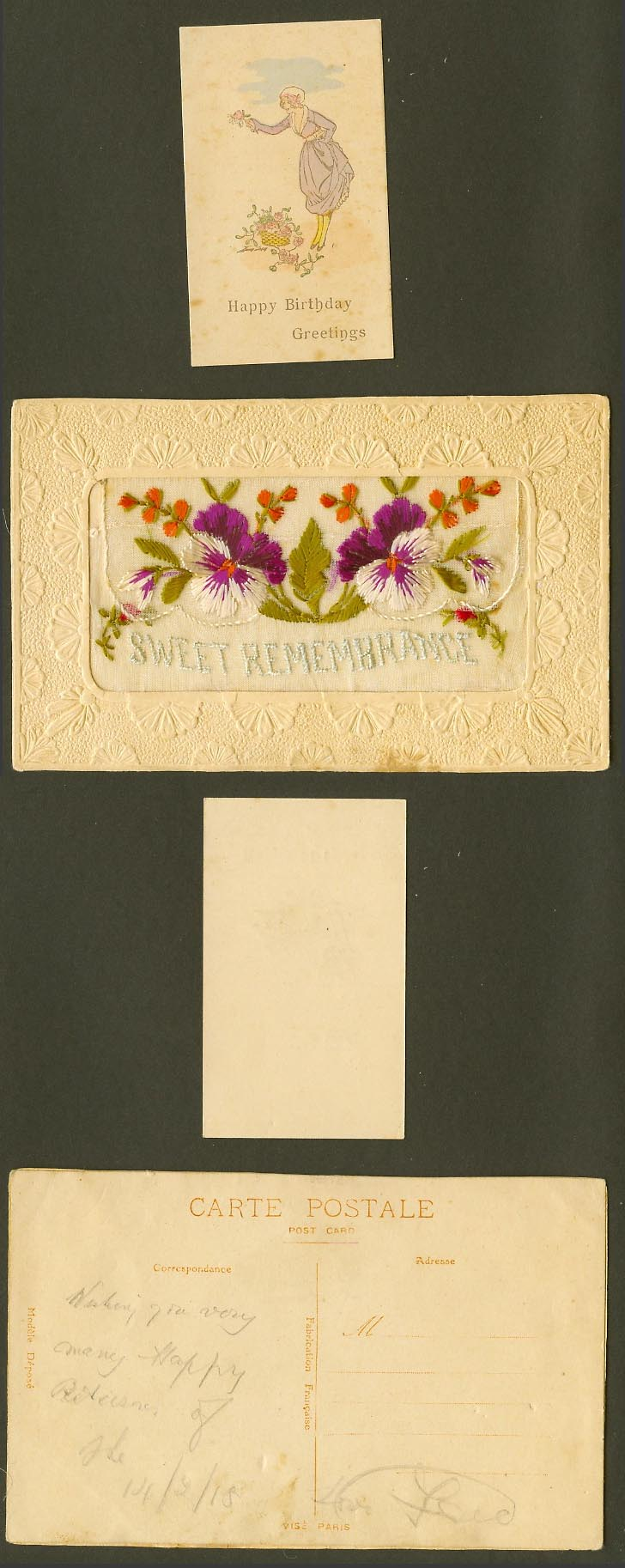 WW1 SILK Embroidered 1918 Old Postcard Sweet Remembrance Happy Birthday Greeting