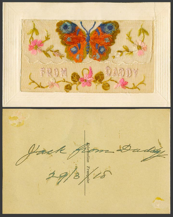 WW1 SILK Embroidered 1918 Old Postcard From Daddy Butterfly Flowers Empty Wallet