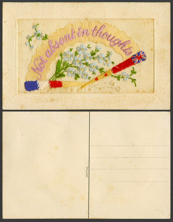 WW1 SILK Embroidered Old Postcard Not Absent in Thoughts, Flags Blue Flowers Fan