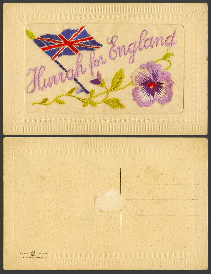 WW1 SILK Embroidered Old Postcard Hurrah for England, British Flag, Pansy Flower
